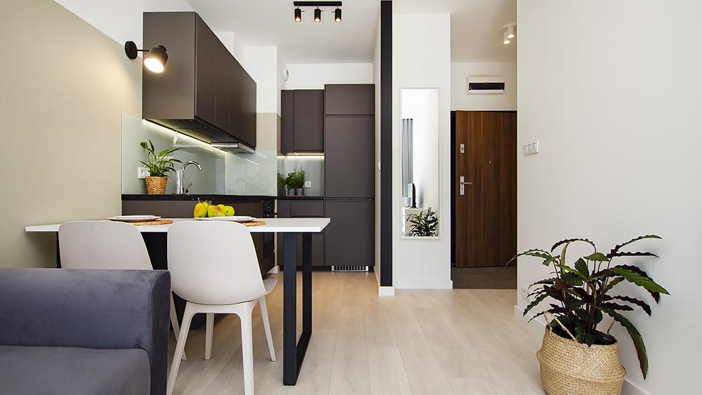 Mieszkanie dwupokojowe z ciemną kuchnią