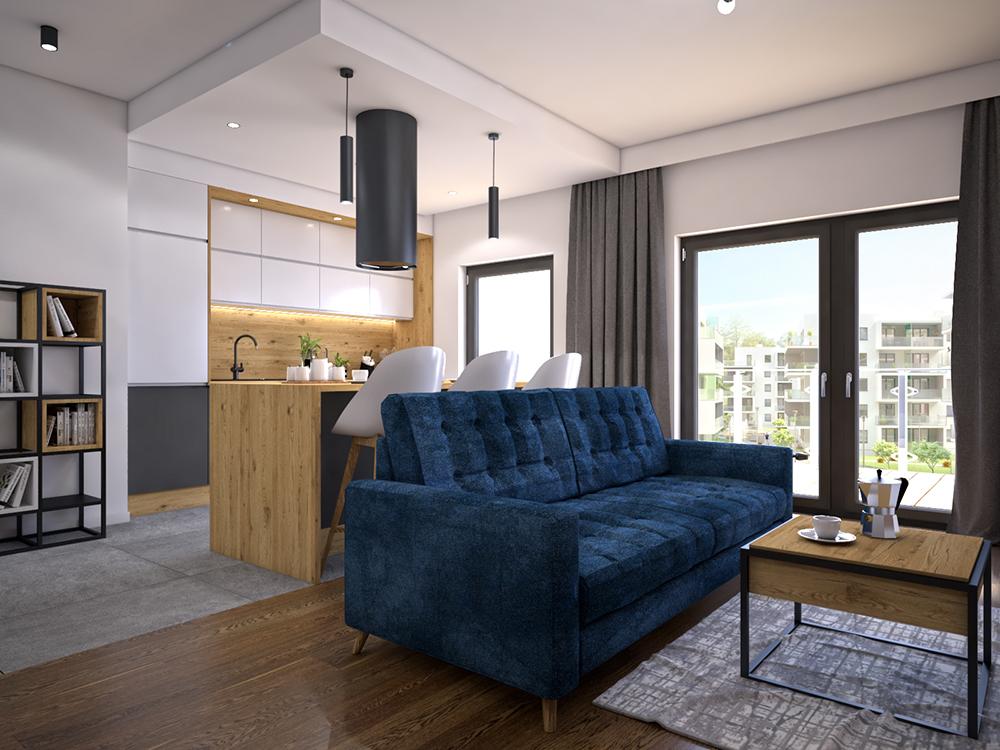 Salon z granatową kanapą